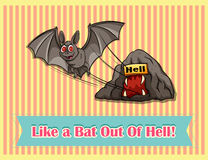 Idiom like a bat out of hell Royalty Free Stock Photography