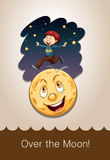 Idiom over the moon Stock Images