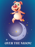 Idiom over the moon Stock Image