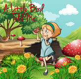 Idiom poster for little bird told me Royalty Free Stock Image