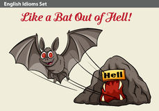 An idiom showing a bat getting out of the hell Royalty Free Stock Photography