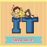 Idiom sleep on it Royalty Free Stock Photos
