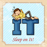 Idiom sleep on it Stock Image