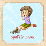 Idiom spill the beans Royalty Free Stock Photography
