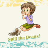 Idiom spill the beans Stock Photography