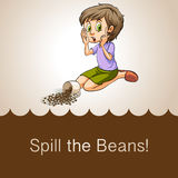 Idiom spill the beans. Illustration Royalty Free Stock Image