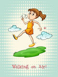 Idiom walking on air Royalty Free Stock Image