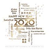 Idiomas 2020 de la tarjeta de la Feliz Año Nuevo Imagen de archivo libre de regalías