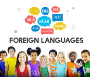 Idiomas extranjeros de la comunicación que saludan concepto mundial imagen de archivo libre de regalías