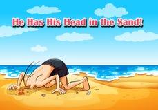 Idiomatische uitdrukking op affiche want hij zijn hoofd in zand heeft stock illustratie