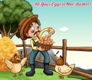 Idiomatische uitdrukkingsaffiche voor al uw eieren in één mand royalty-vrije illustratie