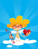 Geek cupid holding bow and heart stock illustration