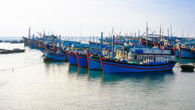 Idle boats in My Tan wharf Royalty Free Stock Image