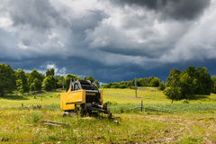 Idle combine in the countryside Royalty Free Stock Photo