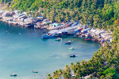 Idle fishing boats in Ben Ngu wharf, Nam Du islands, Kien Giang Royalty Free Stock Photography