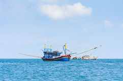 Idle fishing boats, morning on the sea, Nam Du islands Royalty Free Stock Photos