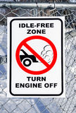 Idle-Free Zone, Turn Engine Off Sign Royalty Free Stock Photo