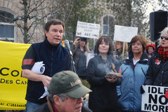 IDLE NO MORE - Guelph, Ontario Protest. Metis writer, Paul Smith addresses the crowd, at the Jan.12, 213 Idle No More protest, in Guelph, Ontario, Canada Stock Image