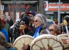 IDLE NO MORE - Guelph, Ontario Protest. Elder drummer, at the Jan.12, 213 Idle No More protest, in Guelph, Ontario, Canada Royalty Free Stock Image