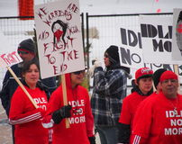 Idle No More Protesters. At Churchill Square Edmonton Alberta Royalty Free Stock Photo