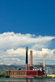 Idle Not Running Coal Fired Power Plant by a Lake Stock Images