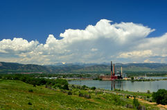 Idle Not Running Coal Fired Power Plant by a Lake in the Mountai Stock Photos