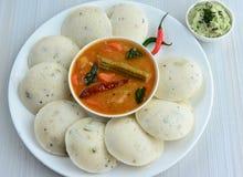 Idli chutney and sambhar. Lentil soup ,South Indian breakfast Stock Images