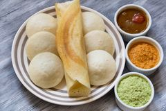 Idli and Dosa With Chutney and Sambar Royalty Free Stock Images