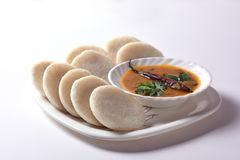 Idli with Sambar in bowl on white background, Indian Dish Royalty Free Stock Photography
