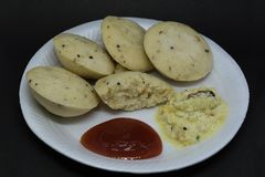 Idli with sambar and chutney royalty free stock photos