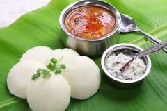 Idli, sambar and coconut chutney royalty free stock photography