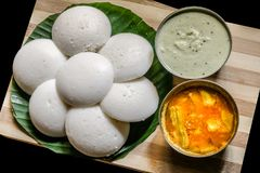 South Indian Idli Sambhar with Coconut Chutney. Idli Sambhar a popular dish from southern India served with coconut chutney Royalty Free Stock Images
