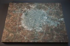 Idlib, satelitarny widok, sekcja 3d, Syria Fotografia Stock