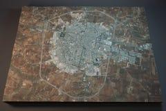 Idlib, visión por satélite, sección 3d, Siria Fotografía de archivo