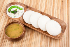 Idly / Idli with coconut chutney, sambar Royalty Free Stock Images