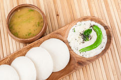 Idly / Idli with coconut chutney, sambar Stock Photos