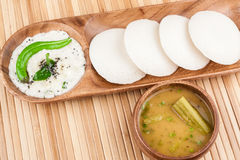 Idly / Idli with coconut chutney, sambar Stock Photography
