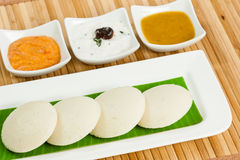 Idly / Idli with tomato & coconut chutney and sambar Stock Photo