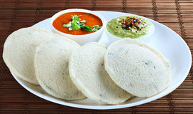Idly with sambar and chutney. Stock Photos