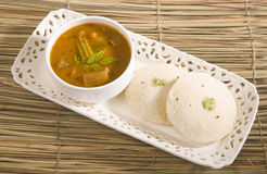Idly Sambar with Coconut Chutney Royalty Free Stock Photo