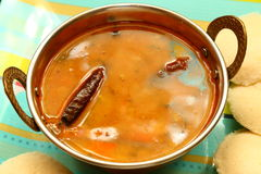 Idly with sambar Iddli is a traditional breakfast of South Indian households,its a very popular savory dish of South Indian cuisin Royalty Free Stock Images