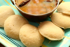 Idly with sambar Iddli is a traditional breakfast of South Indian households,its a very popular savory dish of South Indian cuisin Stock Image