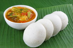 Idly  with sambar . Stock Photo