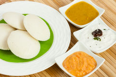 Idly / Idli with tomato & coconut chutney and sambar Royalty Free Stock Photo