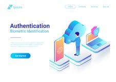 Ido biometrico dell'impronta digitale di autenticazione isometrica illustrazione di stock