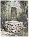 Idol and Altar at Copan Royalty Free Stock Photography