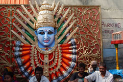 Idol of Hindu goddess Durga in pandal on Hanuman Jayanti day Royalty Free Stock Photos