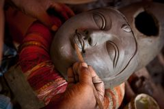 Idol making at Kumortuli (Kolkata) Royalty Free Stock Images