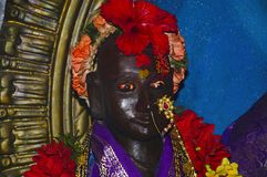 Idol of Rakhumai, Old temple, Mahuli Sangam, Satara, Maharashtra. Idol of Rakhumai, Old temple, Mahuli Sangam, Satara Maharashtra India stock photo