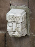 Idol statue face from Tiwanaku in La Paz, Bolivia. Ancient idol statues, sculptures from Tiwanaku inca archaeological site on the square in La Paz, Bolivia stock photo